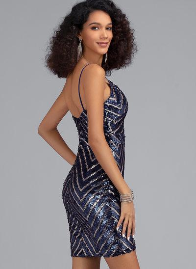 Sheath/Column V-neck Short/Mini Sequined Homecoming Dress