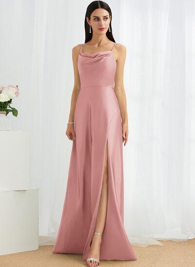 A-Line Cowl Neck Floor-Length Bridesmaid Dress With Split Front