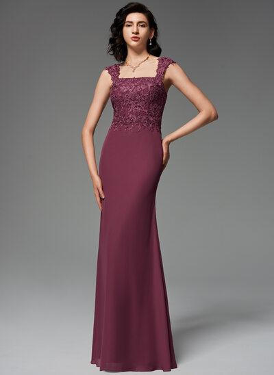 Trumpet/Mermaid Square Neckline Floor-Length Chiffon Evening Dress