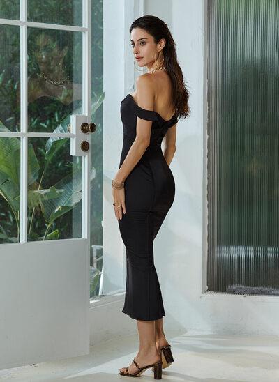 A-Line Off-the-Shoulder Tea-Length Cocktail Dress
