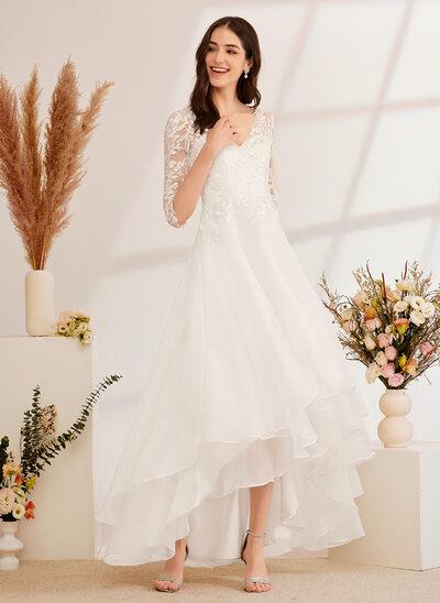 [Gratis Frakt]A-Formet V-hals Asymmetrisk Brudekjole med Profilering paljetter