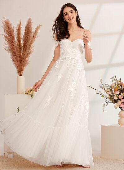 [Gratis Frakt]A-Formet Off-the-Shoulder Gulvlengde Brudekjole med Profilering paljetter