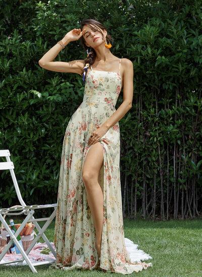 A-Line Square Neckline Floor-Length Prom Dresses