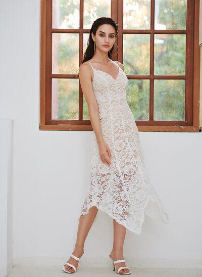 A-Line V-neck Asymmetrical Wedding Dress