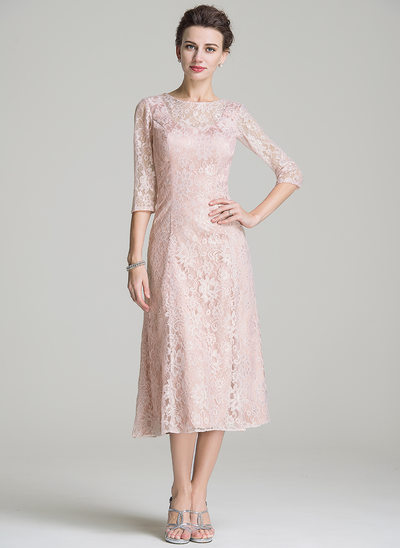 A-Line Scoop Neck Tea-Length Lace Mother of the Bride Dress