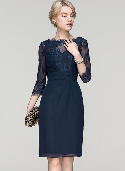 Sheath/Column Scoop Neck Knee-Length Chiffon Cocktail Dress With Ruffle