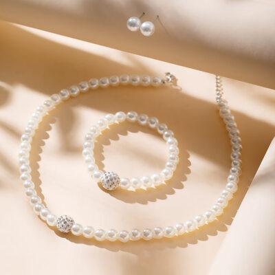 Nydelig med Imiterte Perler Damene ' Smykker Sett