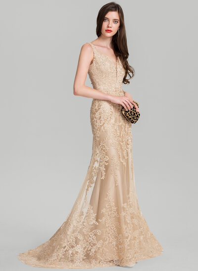 Trumpet/Mermaid V-neck Sweep Train Tulle Evening Dress With Beading Sequins