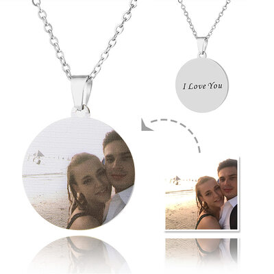 Custom Silver Round Cut Color Printing Photo Necklace - Mother's Day Gifts