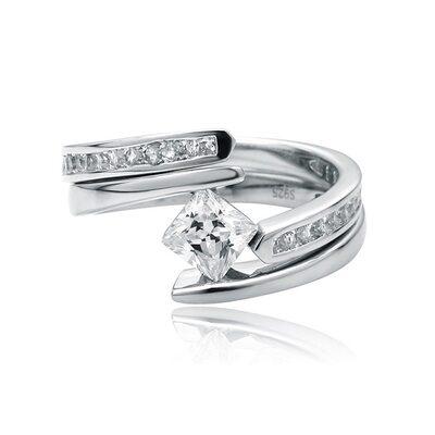 Bypass Asscher Cut 925 Silver Bridal Sets