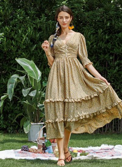 A-Line V-neck Tea-Length Evening Dress
