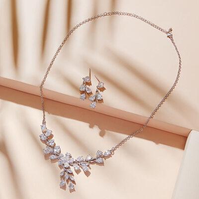 Elegant Copper/Zircon Ladies' Jewelry Sets