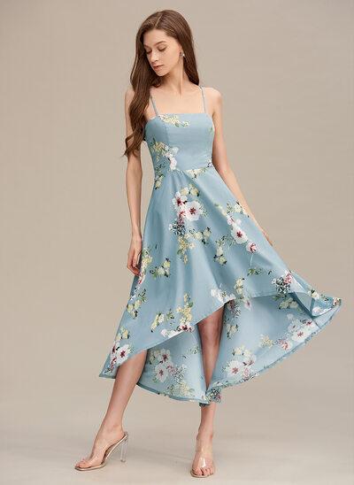 A-Line Square Neckline Asymmetrical Prom Dresses