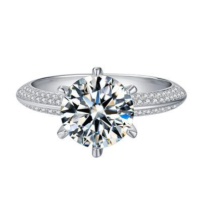 Halo Side steiner Round Cut 925 sølv Forlovelsesringer