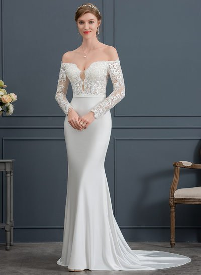 Trumpet/Mermaid Off-the-Shoulder Court Train Jersey Wedding Dress
