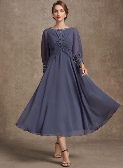 A-Line Scoop Neck Tea-Length Chiffon Evening Dress With Ruffle Beading