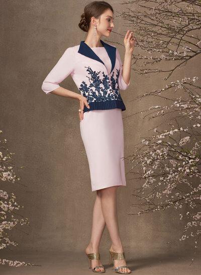 Sheath/Column Scoop Neck Knee-Length Chiffon Mother of the Bride Dress