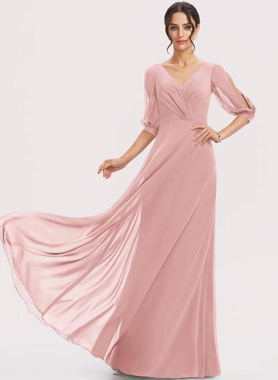 A-Line V-neck Floor-Length Bridesmaid Dress With Ruffle