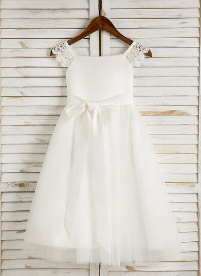 A-Line Tea-length Flower Girl Dress - Satin/Tulle Sleeveless Square Neckline With Lace/Sash