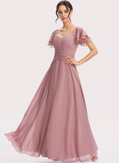 A-Line Square Neckline Floor-Length Bridesmaid Dress With Ruffle Cascading Ruffles