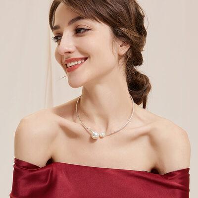 Ladies' Elegant Alloy/Rhinestones/Imitation Pearls Necklaces