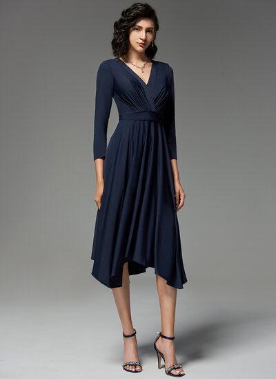 A-Line V-neck Asymmetrical Jersey Evening Dress