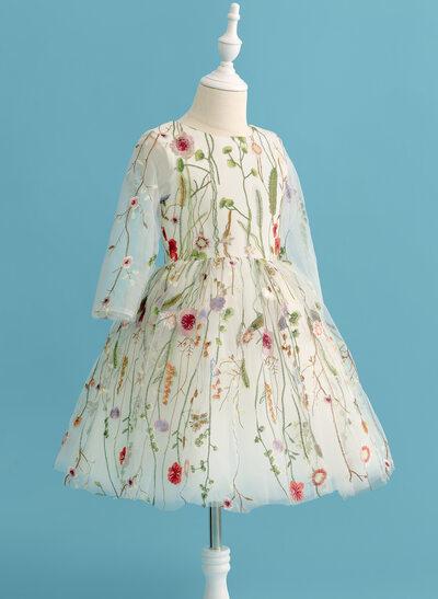 Ballkjole/Prinsesse Knelengde Blomsterpikekjoler - Blonder Langermer Scoop Hals
