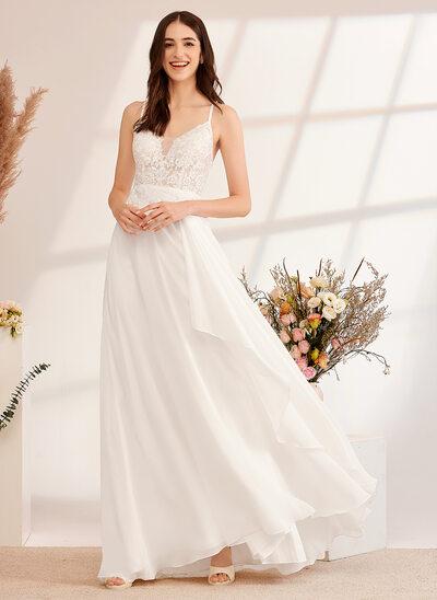[Gratis Frakt]A-Formet V-hals Gulvlengde Brudekjole med paljetter