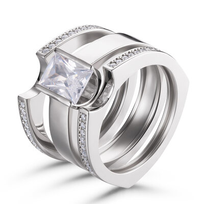 Stackable Princess Cut 925 Silver Bridal Sets