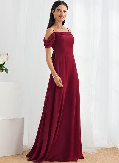 A-Line Square Neckline Floor-Length Bridesmaid Dress With Bow(s)