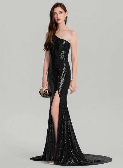 Sheath/Column One-Shoulder Court Train Sequined Evening Dress