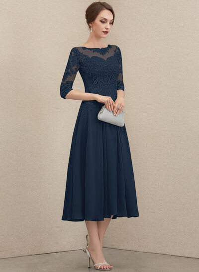 A-Line Scoop Neck Tea-Length Chiffon Lace Mother of the Bride Dress With Beading Sequins