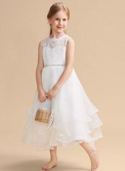 A-Line Tea-length Flower Girl Dress - Organza/Lace Sleeveless Scoop Neck With Beading/Rhinestone