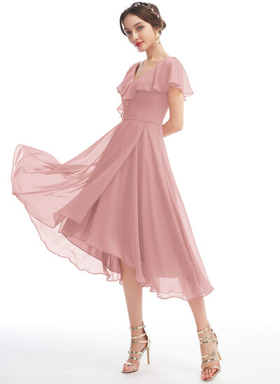 A-Line V-neck Asymmetrical Bridesmaid Dress With Ruffle