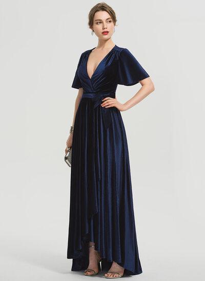 A-Line V-neck Asymmetrical Velvet Prom Dresses With Bow(s)