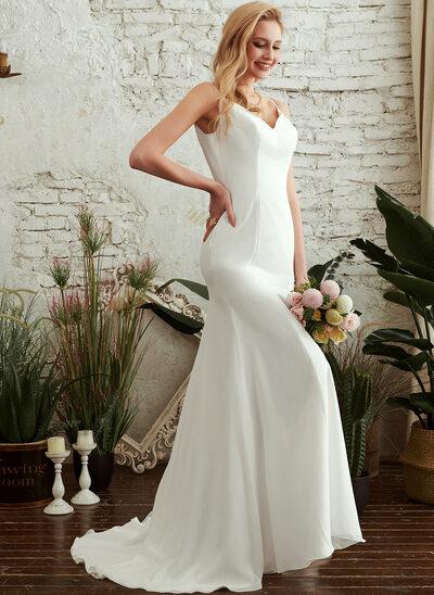 Trumpet/Mermaid V-neck Sweep Train Wedding Dress