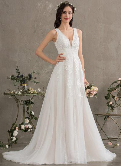 A-Line V-neck Sweep Train Tulle Wedding Dress