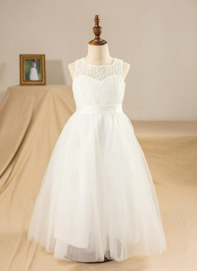 A-Line/Princess Ankle-length Flower Girl Dress - Tulle/Lace Sleeveless Scoop Neck With Sash/Bow(s)