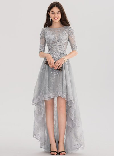 A-Line Scoop Neck Asymmetrical Tulle Lace Evening Dress