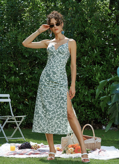 Sheath/Column V-neck Tea-Length Prom Dresses