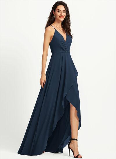 A-Line V-neck Asymmetrical Bridesmaid Dress