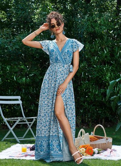 A-Line V-neck Floor-Length Evening Dress