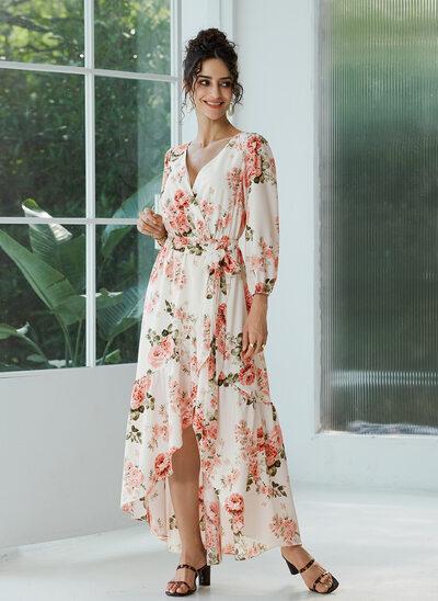 V-neck Asymmetrical Evening Dress