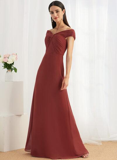 Sheath/Column Off-the-Shoulder Floor-Length Bridesmaid Dress With Ruffle