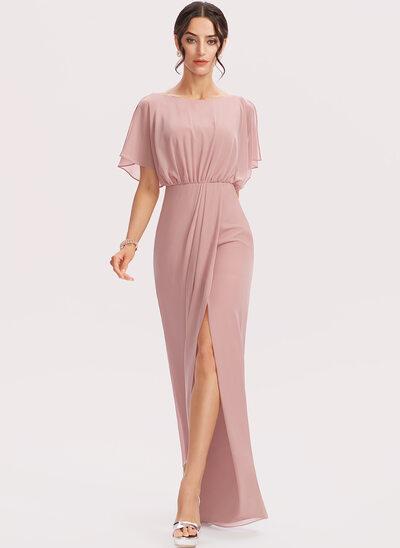 Sheath/Column Floor-Length Bridesmaid Dress With Split Front