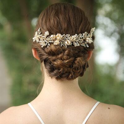 Ladies Beautiful Rhinestone/Alloy/Freshwater Pearl Headbands (Sold in single piece)