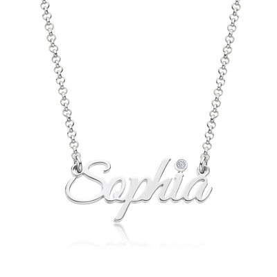 [Free Shipping]Custom Silver Letter Name Necklace Birthstone Necklace With Birthstone - Birthday Gifts (288250668)