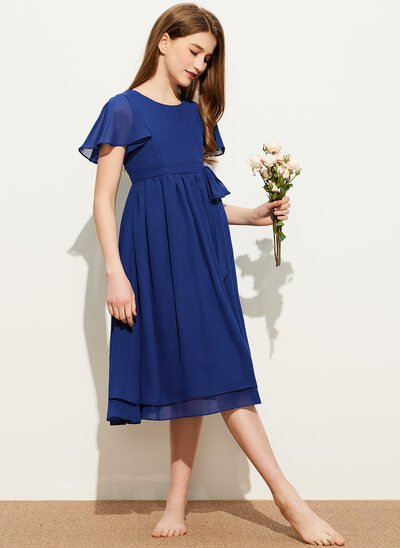 A-Line Scoop Neck Knee-Length Chiffon Junior Bridesmaid Dress With Bow(s)