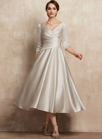 A-Line V-neck Tea-Length Satin Mother of the Bride Dress With Ruffle