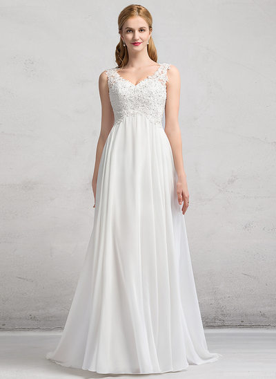 A-Line/Princess V-neck Sweep Train Chiffon Wedding Dress With Beading Sequins